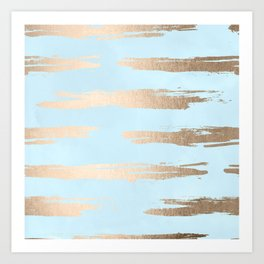 Abstract Paint Stripes Gold Tropical Ocean Sea Turquoise Art Print