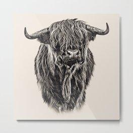 Vintage Painting of Highland Cow Metal Print