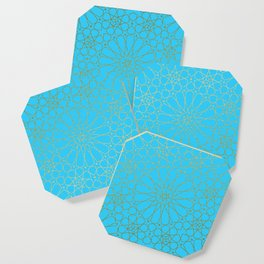 Moroccan Nights - Gold Teal Mandala Pattern - Mix & Match with Simplicity of Life Coaster