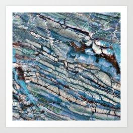 Stratified Blue Rock-Art Panel Art Print