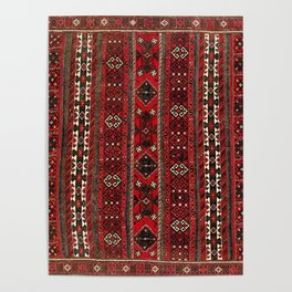 Baluch Flatweave  Antique Afghanistan  Rug Print Poster