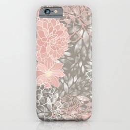 Floral Pattern Dahlias, Blush Pink, Gray, White iPhone Case