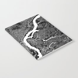 Philadelphia Black And White Map Notebook