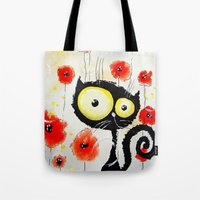 poppies Tote Bags featuring Poppies  by Katja Main