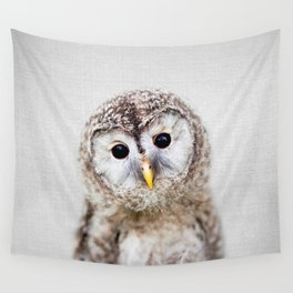 Baby Owl - Colorful Wall Tapestry