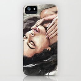 Watercolor hand-painted realistic young sexy woman in water illustration iPhone Case