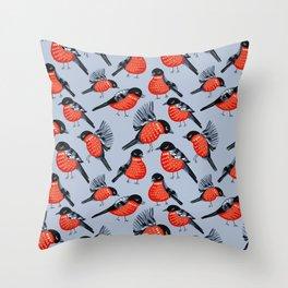 Bullfinches, winter bird, red bird Throw Pillow