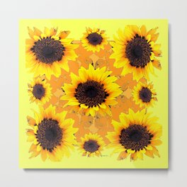 Decorative Golden Yellow  Black Sunflower patterns Metal Print