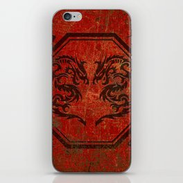 Distressed Dueling Dragons in Octagon Frame With Chinese Dragon Characters iPhone Skin
