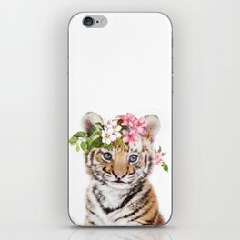 Tiger Cub with Flower Crown iPhone Skin