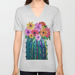Colorful Cactus with Flowers, Desert Motif Unisex V-Neck