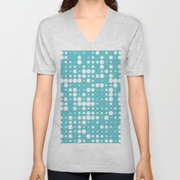 white polka dots Unisex V-Neck