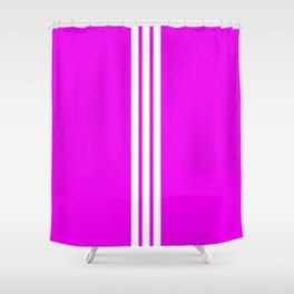 3 White Stripes on Pink Shower Curtain