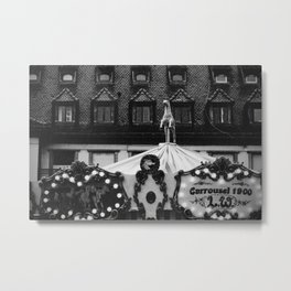 The rain, the horse, the carousel   Nostalgia in Strasbourg   Black and White Street Photography Metal Print