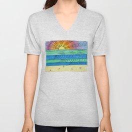 Stitched Watercolour Rainbow Sunset Unisex V-Neck