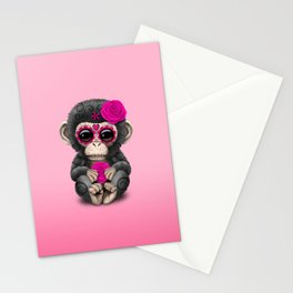 Pink Day of the Dead Sugar Skull Baby Chimp Stationery Cards