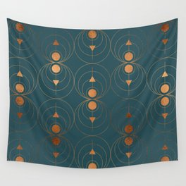 Copper Art Deco on Emerald Wall Tapestry