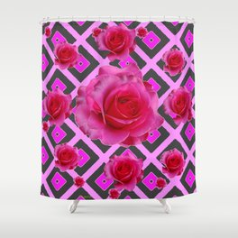 Charcoal-pink Grey Fuchsia Pink Roses  Patterns Shower Curtain