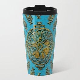 Hunab Ku Mayan symbol Vintage gold on old stone Travel Mug