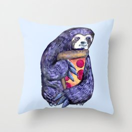 purple sloth loves pizza Throw Pillow