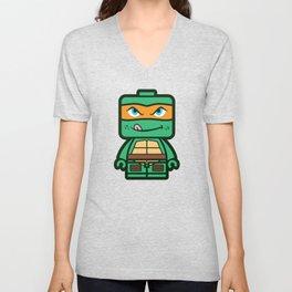 Chibi Michelangelo Ninja Turtle Unisex V-Neck