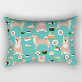 shiba inu sushi dog breed pet pattern dog mom Rectangular Pillow