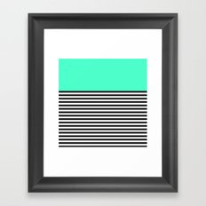 STRIPE COLORBLOCK {MINT/TEAL} Framed Art Print