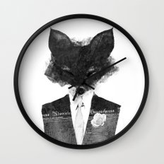 minima - dapper fox | noir Wall Clock