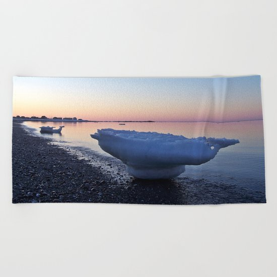 Icebergs on the Beach Beach Towel
