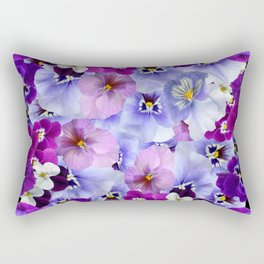 PURPLE-WHITE-PINK PANSY FLOWERS & BLACK Art Rectangular Pillow