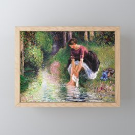 Camille Pissarro - Woman Washing Her Feet In A Brook - Digital Remastered Edition Framed Mini Art Print