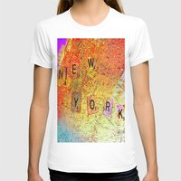 new york map T-shirts featuring New York Map by Ganech joe