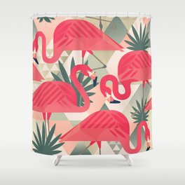 Retro Flamingo Patter Shower Curtain