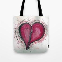 Cracked & Splattered Heart Tote Bag