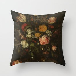 Abraham Hendricksz. van Beyeren - Still life with flowers (1650-1670) Throw Pillow