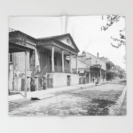 Chartres Street, Vieux Carre, New Orleans, Louisiana 1906 Throw Blanket