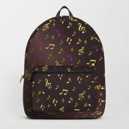 golden music in dark metal background Backpack