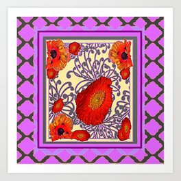 Decorative Lilac Poppy Floral Art Print