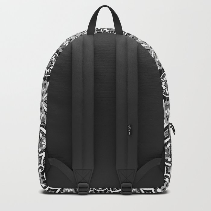 Retro . Lace black and white pattern . White lace on a black background . Backpack