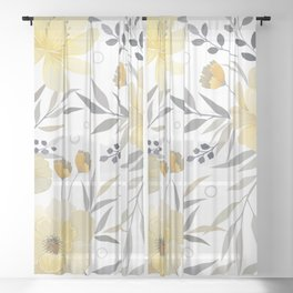 Modern, Floral Prints, Yellow, Gray and White Sheer Curtain