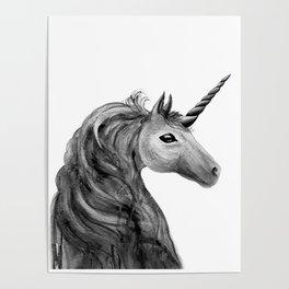 Unicorn, black and white Poster