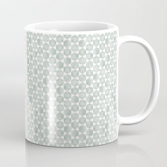 Gray Green and White Hexagonal Block Print Pattern Coffee Mug