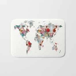 world map abstract  Bath Mat