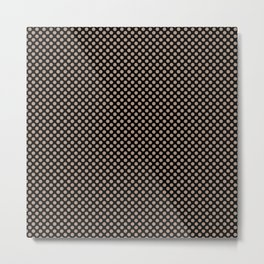 Black and Warm Taupe Polka Dots Metal Print