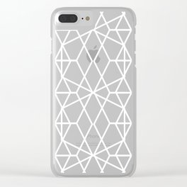 Geometric modern abstract stripes lines rose gold white marble pattern Clear iPhone Case