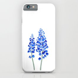 2 abstract blue grape hyacinth watercolor iPhone Case