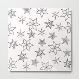 Grey Snowflakes On White Background Metal Print