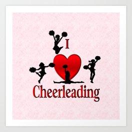 I Heart Cheerleading Art Print