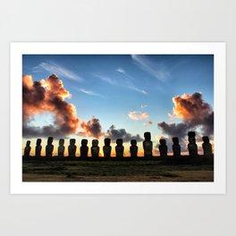 Sunrise behind the Moai Art Print