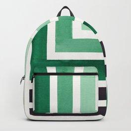 Deep Green Teal Mid Century Modern Watercolor Colorful Ancient Aztec Art Pattern Minimalist Geometri Backpack